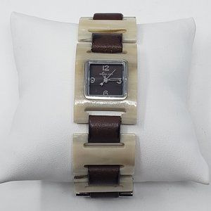 Michael Kors Resin Leather Link Watch Brown MK4071